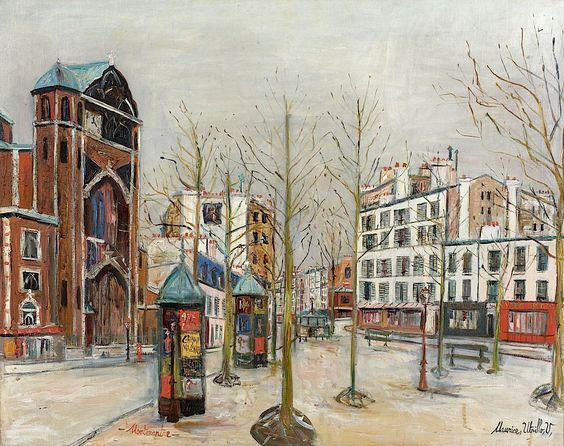Maurice Utrillo, La place des Abbesses sous la neige, Montmartre (c.1931)  http://artcurial.com/: