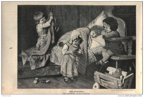 """Kleine Krankenwärter  - Druck, entnommen   aus """"die Gartenlaube"""", 1897"""