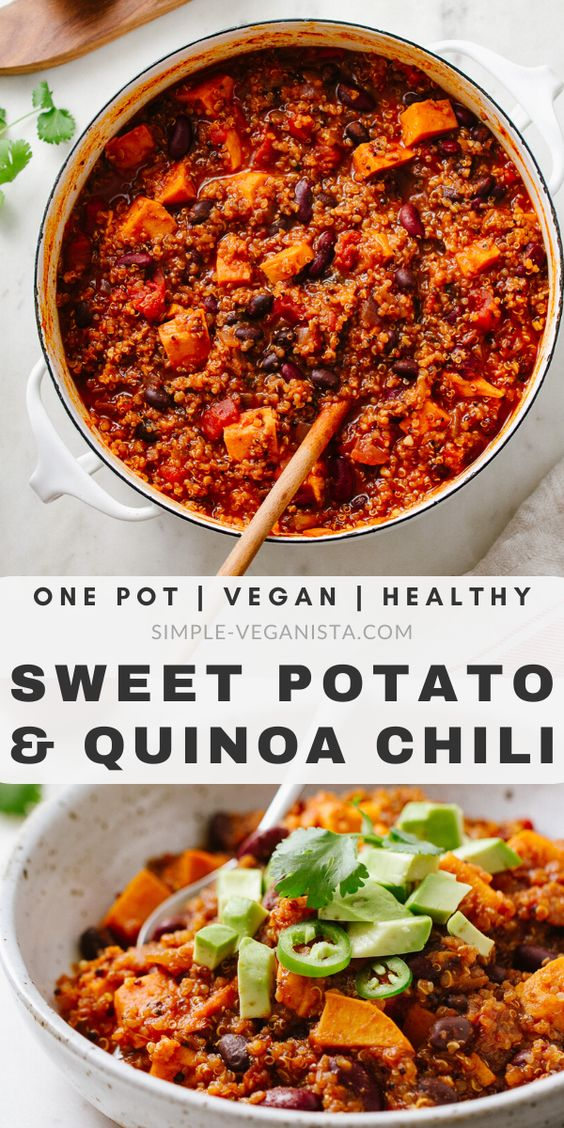 Sweet Potato & Quinoa Chili - Easy One Pot Recipe | Stovetop + Slow Cooker
