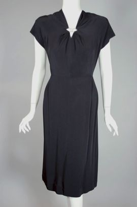 Late 1940s black crepe cocktail dress with rhinestone trim DR789