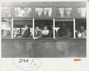 Robert Frank in National Gallery Trolley–New Orleans, 1955, 1990.28.316