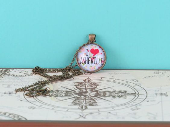 Pendant Necklace  I Love Asheville  Flowers by MoonlightMakers