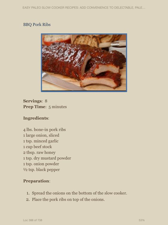 Pork ribs barques slow cooker