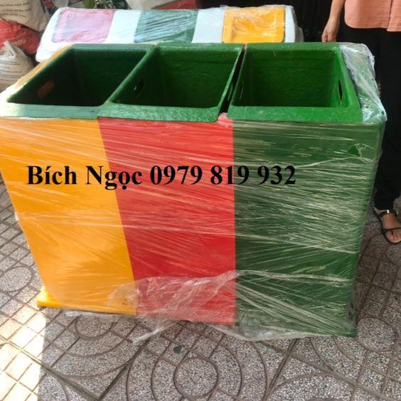 thùng rác phân loại 3 ngăn 180L