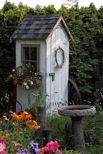 Garden Sheds - this post has lots of clever shed ideas - different styles and materials used - via FleaChic - Flea Market Savvy