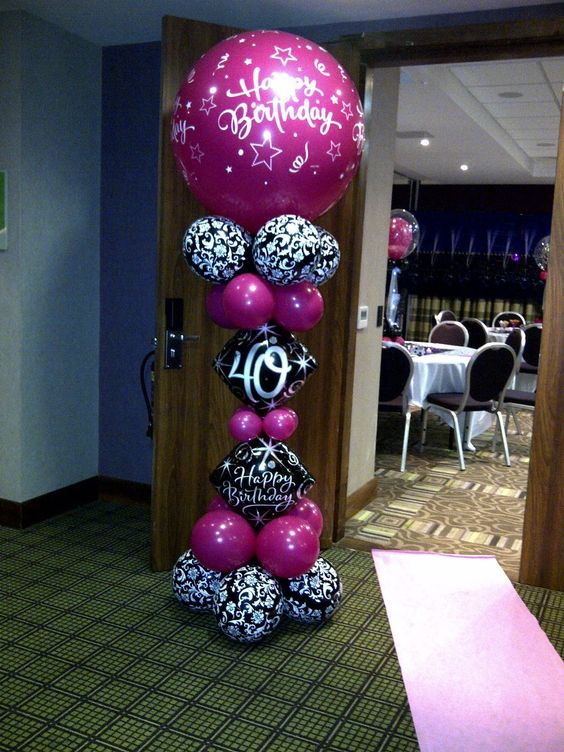 Welcome to Party Buds' Balloon World! - Professional Balloon Decorators: Wild Berry Pink and Black Damask - 40th birthday