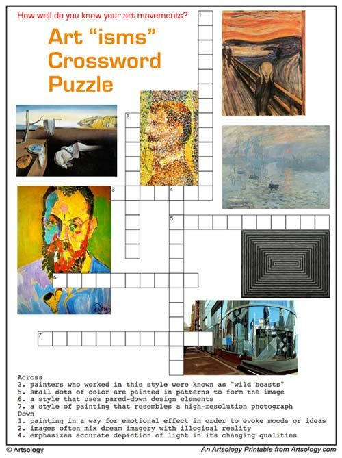 Print And Play Our Art Ism Crossword Puzzle Can You Identify