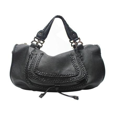 Bolsa grande básica rústica preta.