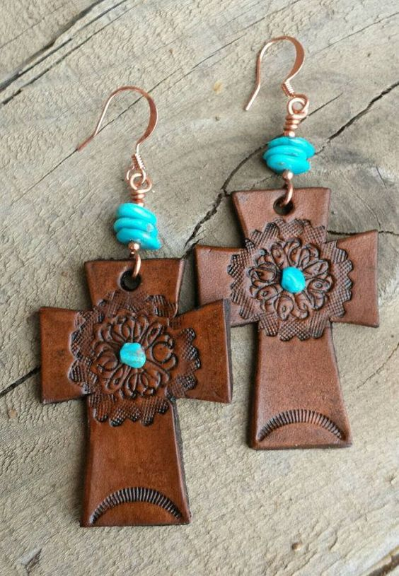 cool Hand Tooled Leather Earrings  - Cross Earrings - Turquoise Earrings - Brown Leather - Western Jewelry - Cowgirl Jewelry