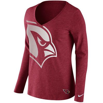 Women's Nike Arizona Cardinals Logo V-Neck Long Sleeve T-Shirt ...