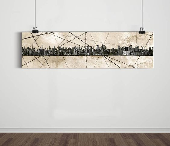 Poster Panorâmico World Skyline Grunge 4 / Artista Sergio Piancó