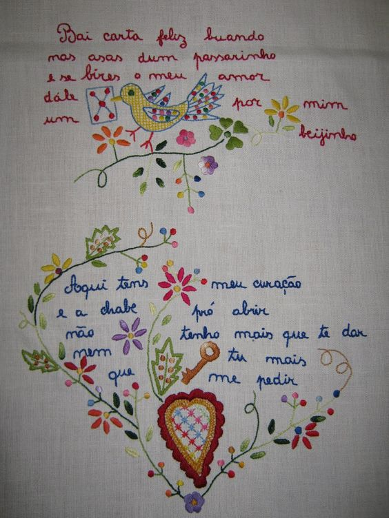 "Portuguese traditional embroidery - ""Scarf Valentine"""