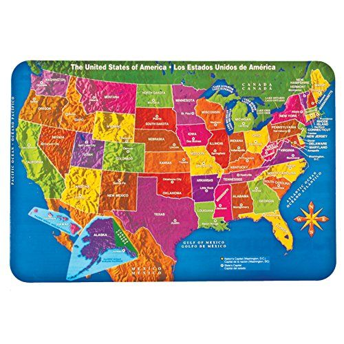United States Usa Laminated Placemat Learn Geography At Mealtime United States Placemats Geography