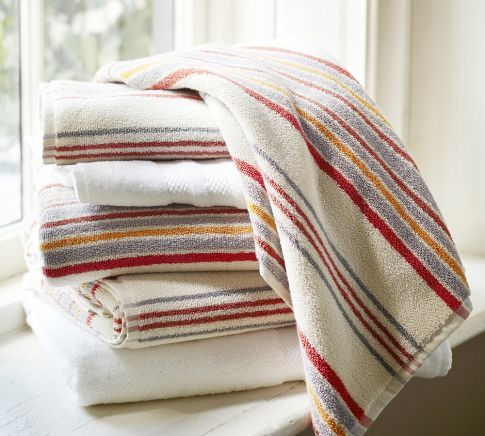 Jenny Stripe Organic Bath Towels   Pottery Barn