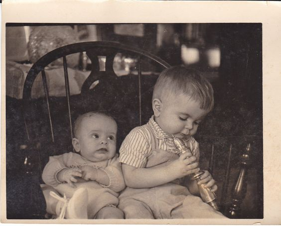 Vintage Snapshot Photograph Two Cute Young Little Kids Boy Baby Play Chair 1950s | eBay