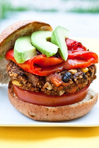 Sweet potato, black beans, and quinoa burgers with roasted red peppers on top.: Black Beans, Black Bean Burgers, Food Drink