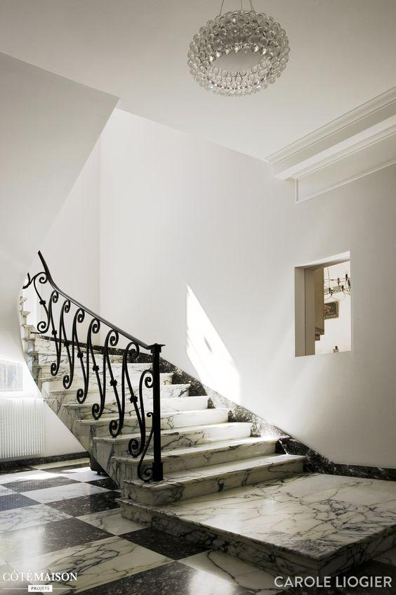 Escalier en marbre noir et blanc saint jean cap ferrat stair pinterest - Escalier noir et blanc ...