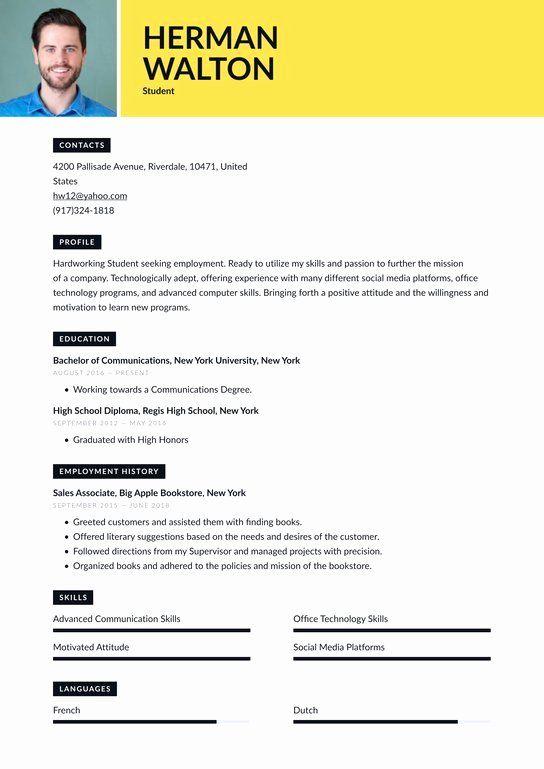 Public Relations Resume Sample 2 Elegant Student Resume Examples Writing Tips 2020 Free Guide Di 2021