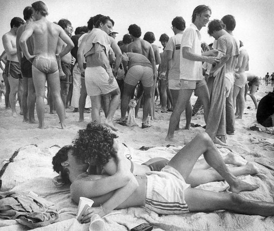 A couple enjoys Spring Break on the beach in Fort Lauderdale in 1980.