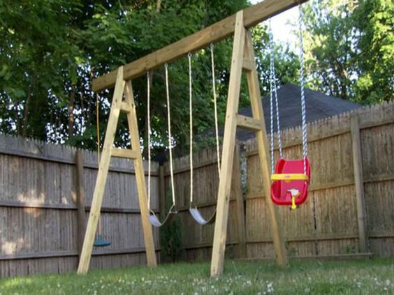 Child 39 s play dream homes for tykes diy swing backyards for How to build a frame swing structure