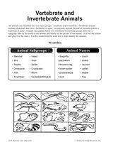 vertebrate and invertebrate animals printable 3rd 5th grade cc. Black Bedroom Furniture Sets. Home Design Ideas