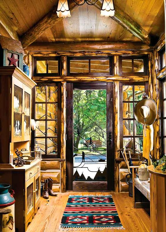 Log Home Foyer : Big sky lodge style entryway window and cabin