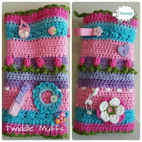 Twiddle muffs.....Started with 40 st and just crochet on and add decorations. Altzheimer people like to touch things.