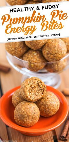 Healthy No-Bake Pumpkin Pie Energy Bites? Yes please! These homemade energy bites have got all the flavor of pumpkin pie, but they don't have all the added sugar, eggs or butter.  No pie baking required to munch on these bites! (refined sugar sugar free, gluten free, vegan)