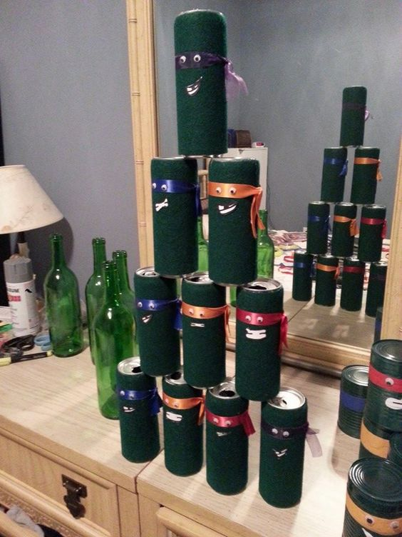 cans covered in cloth and ribbon