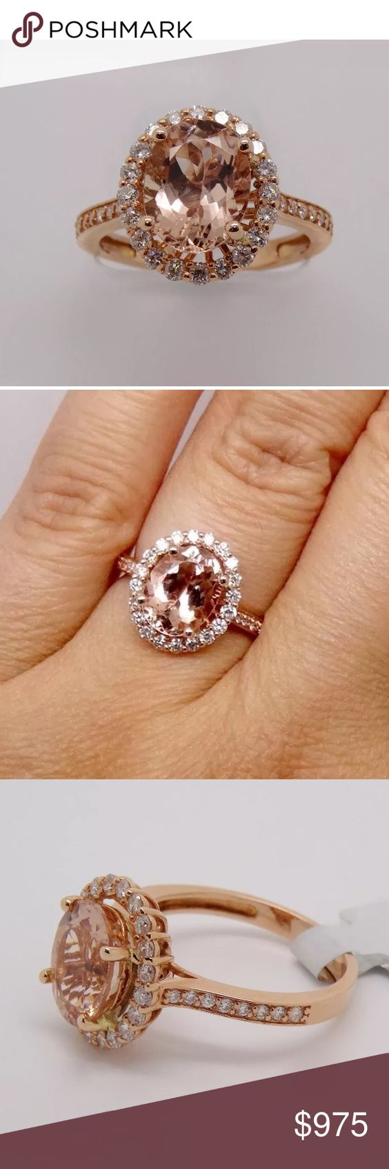 3 Carat 14k Rose Gold Diamond And Morganite Ring 3 Carat 14k Rose Gold  Diamond And