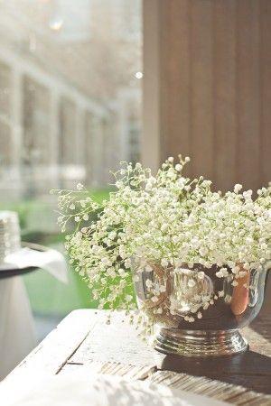 white . flowers . silver . centerpiece