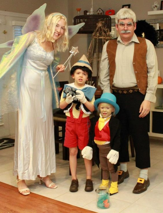 Pinocchio, Jiminy Cricket, Gepetto and the Blue Fairy. Family #Halloween costume !