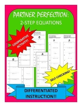 Two Step Equations Differentiated Self-Checking Partner Worksheets ...