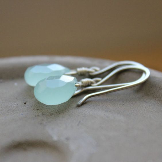 GlacierAqua blue Chalcedony glass faceted by redpoppycompany, $18.00