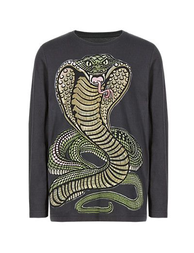 Pure Cotton Snake Print T-Shirt (5-14 Years) | M&S