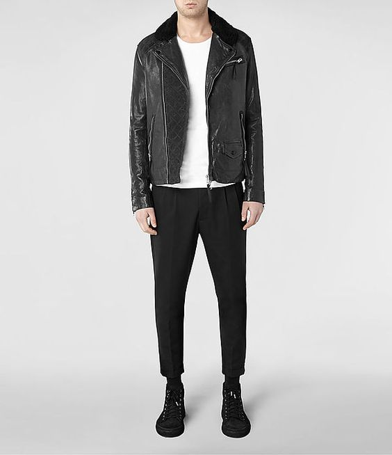 All Saints// Mens Raven Leather Biker Jacket