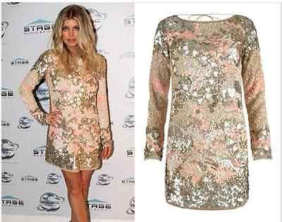 All Saints Aztec Oyster Embellished Sequin Dress Size 8uk Fergie ...
