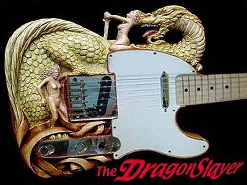 Carved DragonSlayer guitar. Awesome wood work!