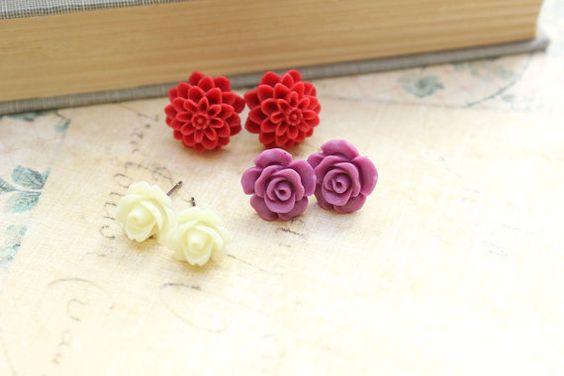 Rose Stud Earrings Purple Rose Post Earrings Cream Red Dahlia Chrysanthemum Flower Jewelry Vintage Style Surgical Steel Spring Jewelry