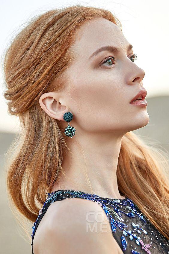Eye-catching Crochet Wedding Earrings with Jewel #HG18004 | Cocomelody #cocomelody #weddingearrings #bridalearrings #weddingjewelry