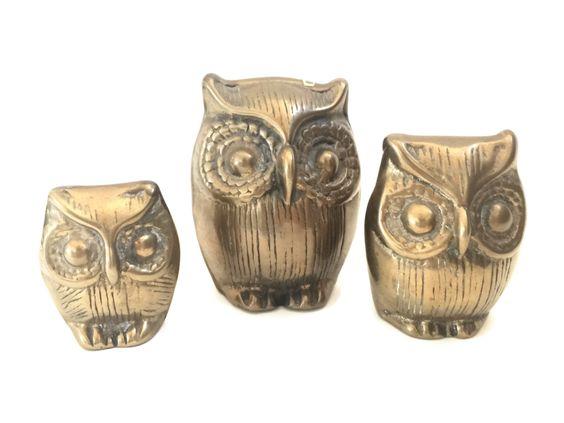 Family of Owls - all Brass!  by VintageModernHip@etsy.com