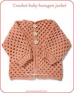 Crochet Hexagon Baby Jacket Pattern : Crochet baby hexagon jacket - free pattern sueters y ...
