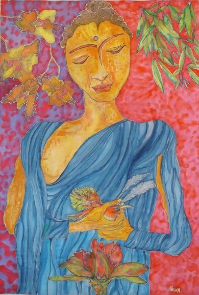 Seidenmalerei, Seidenkunst Buddha von Stefania Silk Arts auf DaWanda.com