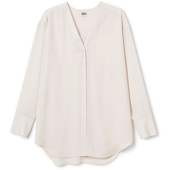 Rise chiffon blouse ❤ liked on Polyvore featuring tops, blouses, v-neck top, pleated blouse, chiffon blouse, long sleeve v neck blouse and pleated top