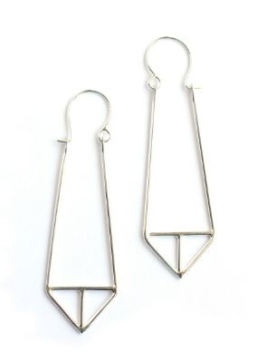 """Intersext triangle hoop in silver Dimensions and materials: Hand fabricated hoops: recycled sterling silver, by Marja Germans Gard Total length from top of ear wire: approximately 2.5"""""""