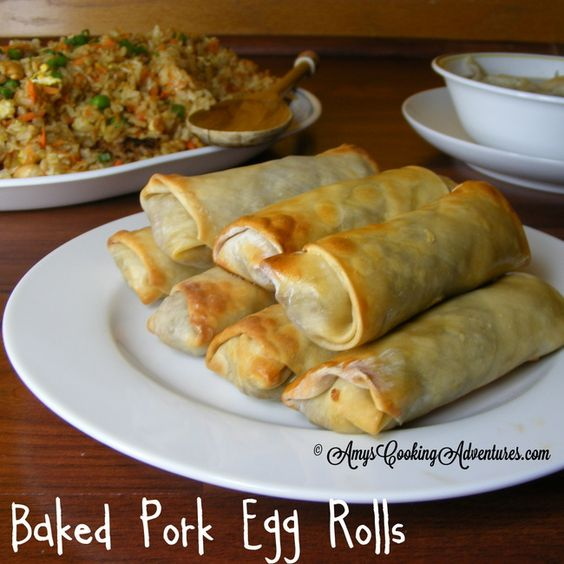 Baked Pork Egg Rolls.... Really really good! I suggest using thin spring roll wrappers over regular grocery store egg roll wrappers (too thick).... But that was the only flaw!! :) success!