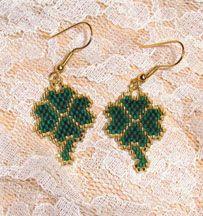 Beaded Shamrock Earrings Pattern by Ann McKee AKA Shadowglen Designs at Bead-Patterns.com