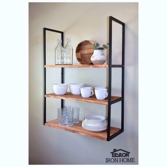Wall Mounted Square Framed Iron Shelf Brackets Metal Steel Etsy Metal Shelf Brackets Shelves Metal Shelves