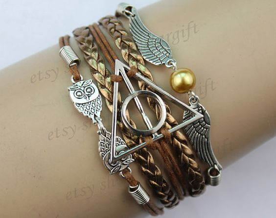 harry potter bracelet Infinity bracelet owl wing par luckystargift, $5.59