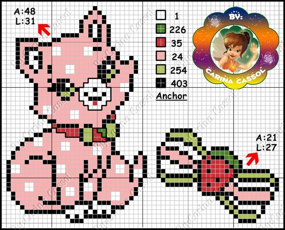 Strawberry Shortcake perler bead pattern by Carina Cassol